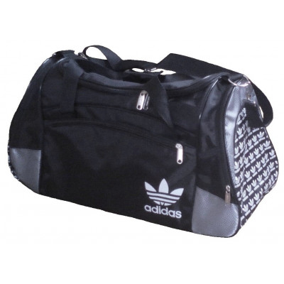Сумка спортивная Adidas со скошенными карманами большая черно-серая 63 см