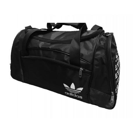 Сумка спортивная Adidas со скошенными карманами большая черная 63 см