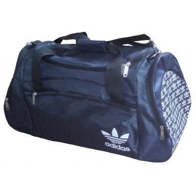 Сумка спортивная Adidas со скошенными карманами большая темно-синяя 63 см
