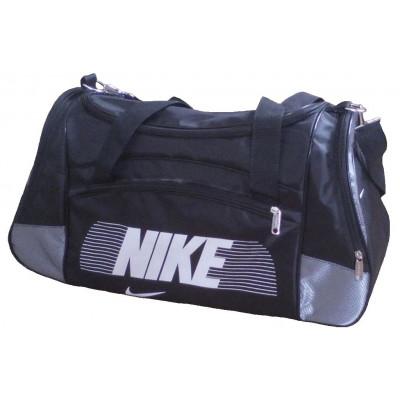 Сумка спортивная Nike со скошенными карманами средняя черно-серая 56 см