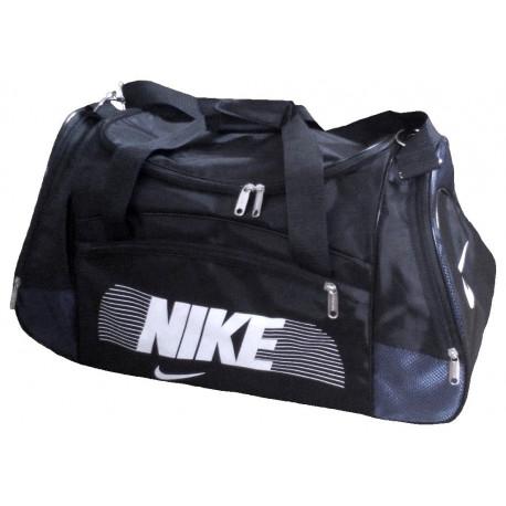 Сумка спортивная Nike со скошенными карманами средняя черно-темно-синяя 56 см