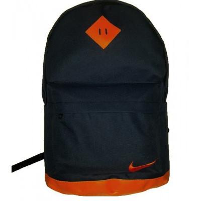 Рюкзак спортивный с кожаным дном черно-оранжевый 45х30 см.