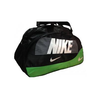 Сумка спортивная Nike овальная средняя черно-зеленая 52 см