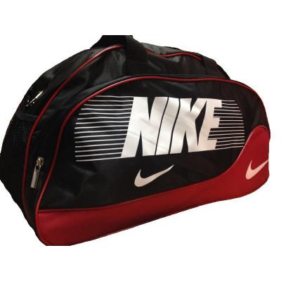 Сумка спортивная Nike овальная средняя черно-красная 52 см