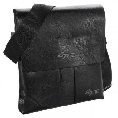 Сумка планшет мужская через плечо черная 26х23х5 см