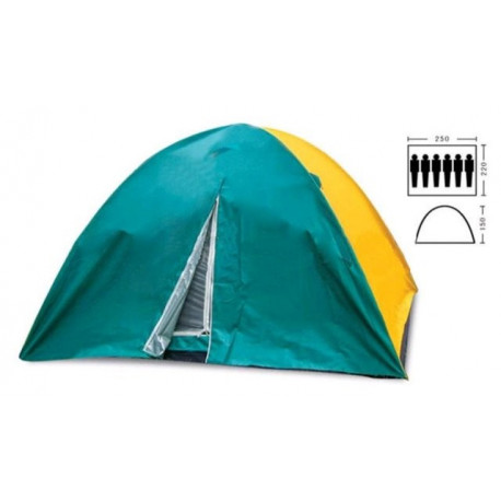Палатка шестиместная 2.20 х 2,50 м зеленая с тентом T2SY021