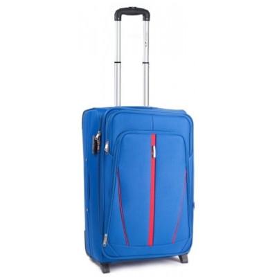 Чемодан тканевый WINGS 1706 малый светло-синий с полосой 2 колеса 50 см
