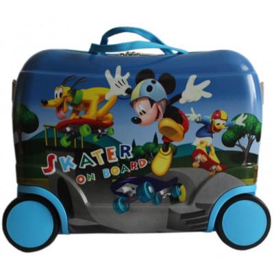 Чемодан детский каталка пластиковый Микки Маус на 4 колеса