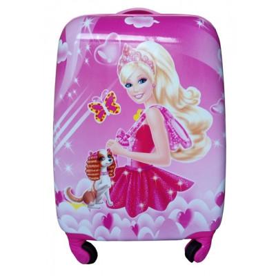 Чемодан детский пластиковый Барби 42 см 4 колеса