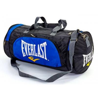 Сумка спортивная EVERLAST 55*28 круглая черно-синяя