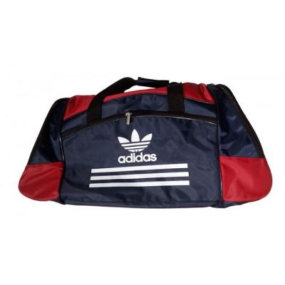 Сумка спортивная Adidas со скошенными карманами средняя черно-темно-синяя 56 см