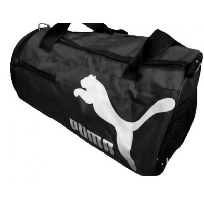 Сумка спортивная Puma круглая малая черная 45 см с карманом