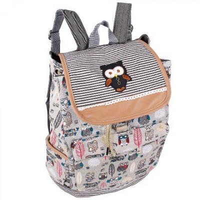 Рюкзак женский Сова тканевый серый R50570