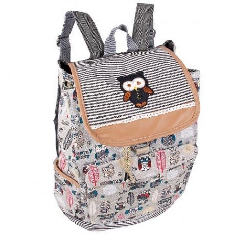 ff5e161caf6a Рюкзак женский Сова тканевый серый R50570 - Travel Bag
