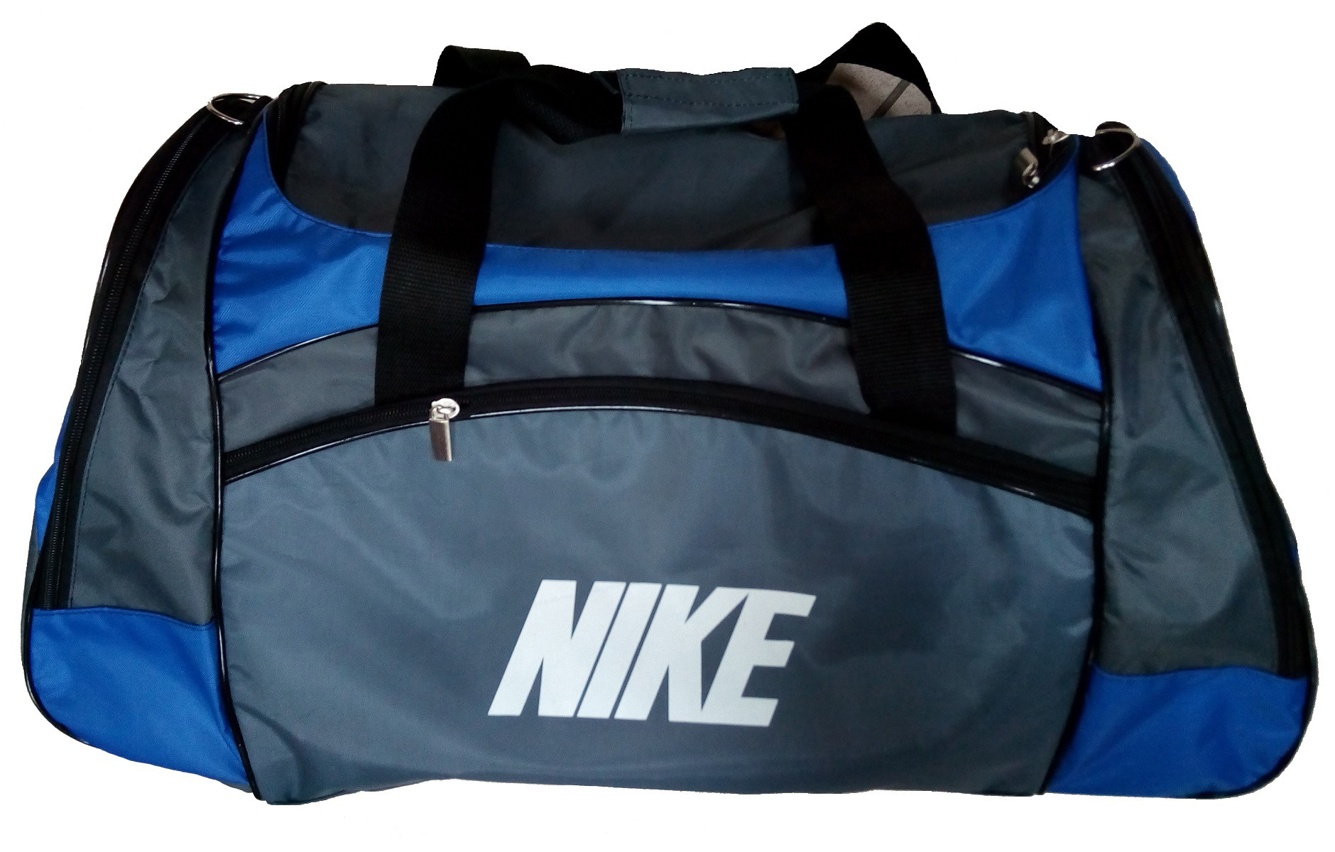 047ab189 Сумка спортивная Nike со скошенными карманами средняя серо-синяя 56 см -  Travel Bag