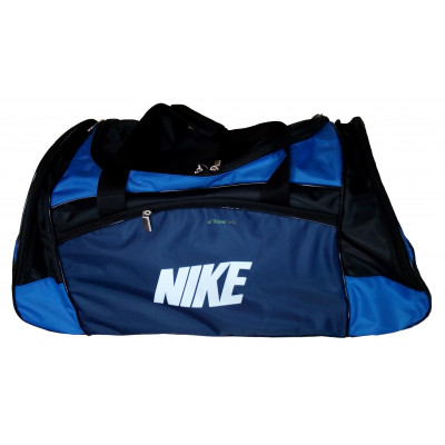 Сумка спортивная Nike со скошенными карманами средняя черно-синяя 56 см