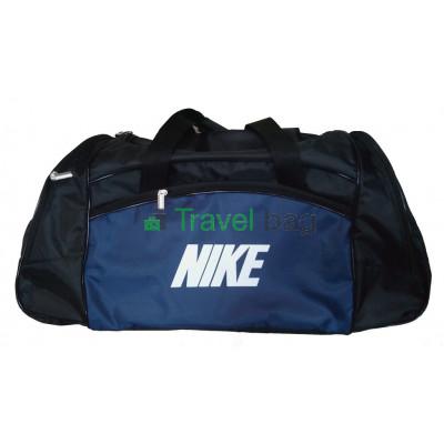 Сумка спортивная Nike со скошенными карманами средняя 56*23*28 черно-синяя