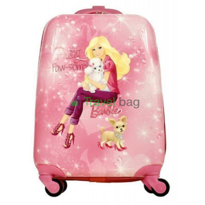 Чемодан детский пластиковый Барби с собачкой 42 см 4 колеса
