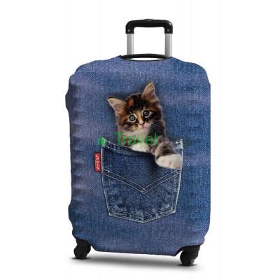 Чехол на чемодан размер S дайвинг с рисунком котенок