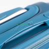 Чемодан пластиковый WINGS большой 70 см серебристо-синий ручки в цвет