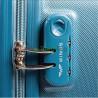 Чемодан Wings средний серебристо-синий пластиковый 60 см ручки в цвет
