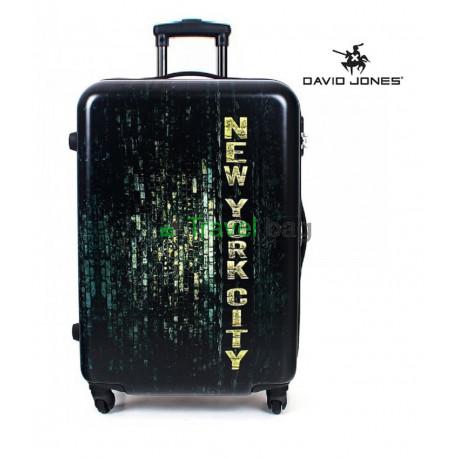 Чемодан средний David Jones New York черный пластиковый 75 см