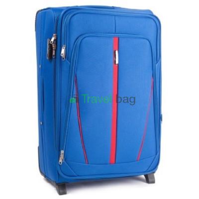 Чемодан тканевый WINGS 1706 большой светло-синий с полосой 2 колеса 70 см