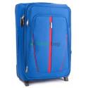 Чемодан тканевый WINGS 1706 большой светло-синий с полосой 2 колеса 73 см