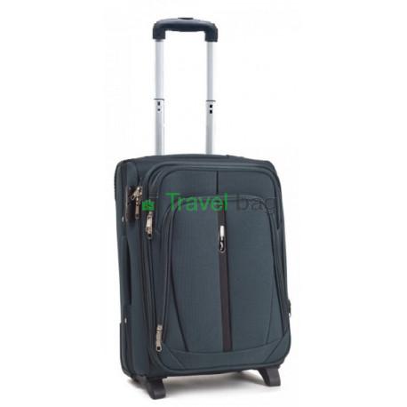 Чемодан тканевый WINGS 1706 малый зеленый с полосой 2 колеса 50 см
