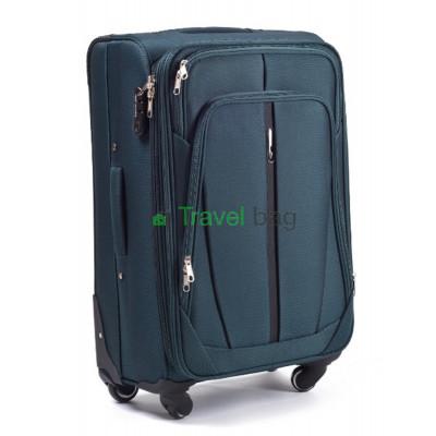 Чемодан тканевый WINGS 1708 большой зеленый с полосой 4 колеса 70 см