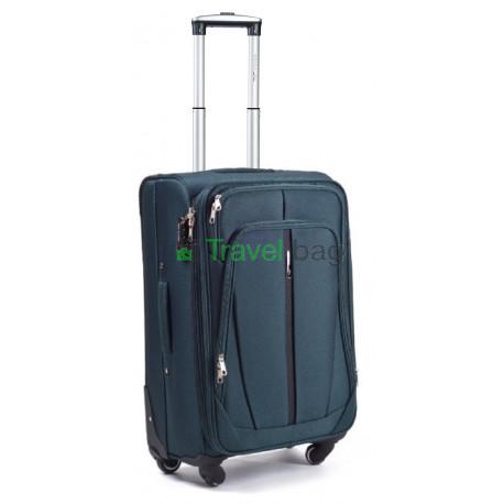 Чемодан тканевый WINGS 1706 малый зеленый с полосой 4 колеса 50 см