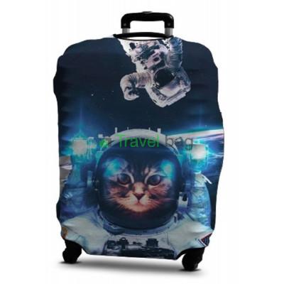 Чехол на чемодан дайвинг с рисунком S котенок в космосе C0411S