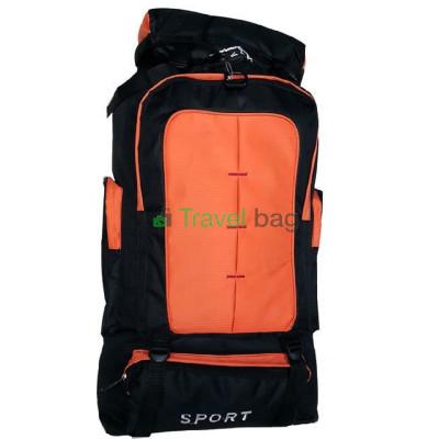 Рюкзак походный 50 л Sports fashion 60х38х20 черно-оранжевый (красные нити)