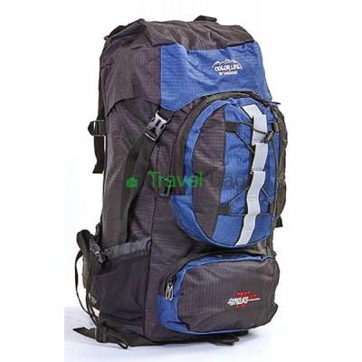 Рюкзак туристический каркасный COLOR LIFE 65(+13)х38х25 75л темно-синий