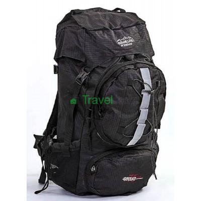 Рюкзак туристический каркасный COLOR LIFE 65(+13)х38х25 75л черный