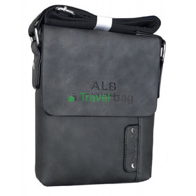 Сумка планшет мужская через плечо серая 20х17х5 см
