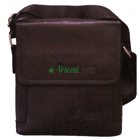 Сумка планшет мужская через плечо коричневая 20х20х4,5 см