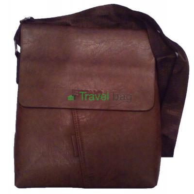Сумка планшет мужская через плечо коричневая 28х24х5,5 см