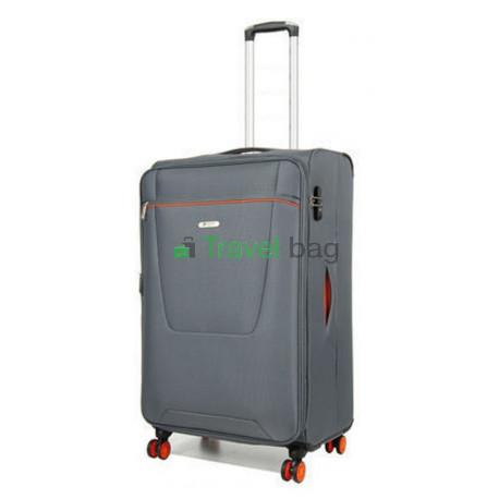 Чемодан малый AIRTEX 825 на 4-х колесах серый тканевый 50 см