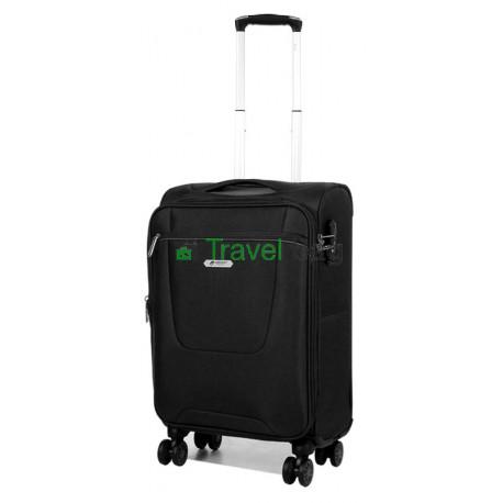 Чемодан малый AIRTEX 825 на 4-х колесах черный тканевый 50 см