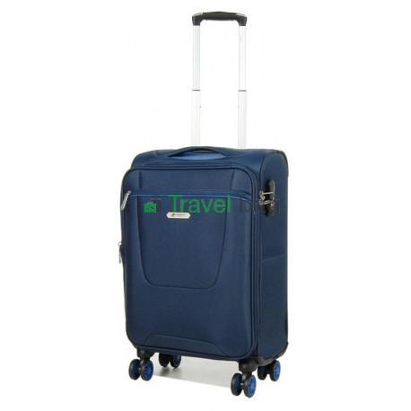 Чемодан малый AIRTEX 825 на 4-х колесах синий тканевый 50 см