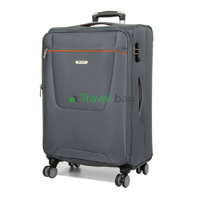 Чемодан большой AIRTEX 825 на 4-х колесах серый тканевый 70 см