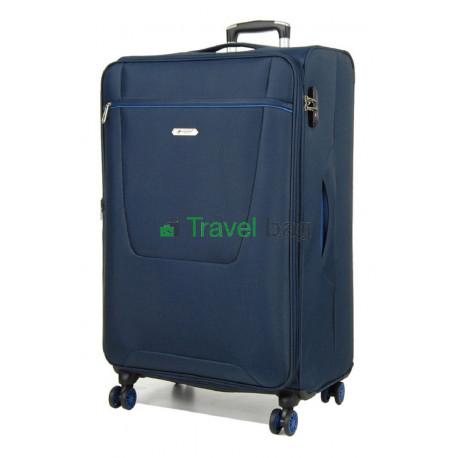 Чемодан большой AIRTEX 825 на 4-х колесах синий тканевый 70 см