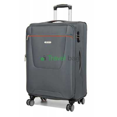 Чемодан средний AIRTEX 825 на 4-х колесах серый тканевый 60 см