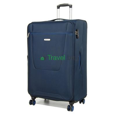 Чемодан средний AIRTEX 825 на 4-х колесах синий тканевый 60 см