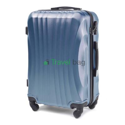 Чемодан Wings 159 средний серебристо-синий пластиковый 60 см