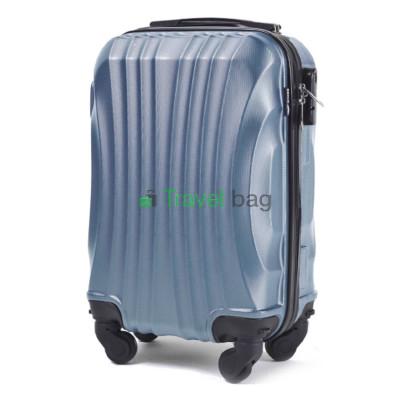 Чемодан Wings 159 микро серебристо-синий пластиковый 44 см