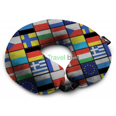 Подушка дорожная с рисунком Флаги стран