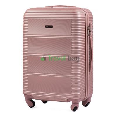 Чемодан Wings 203 средний золотисто-розовый пластиковый 60 см
