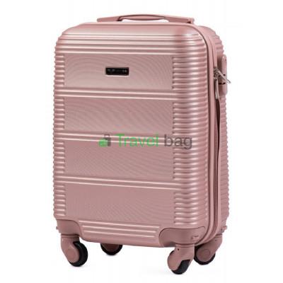 Чемодан пластиковый WINGS 203 микро золотисто-розовый 51 см